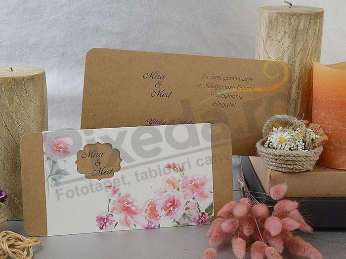 Imagine Invitatii nunta 17096 flori vintage si decupaj