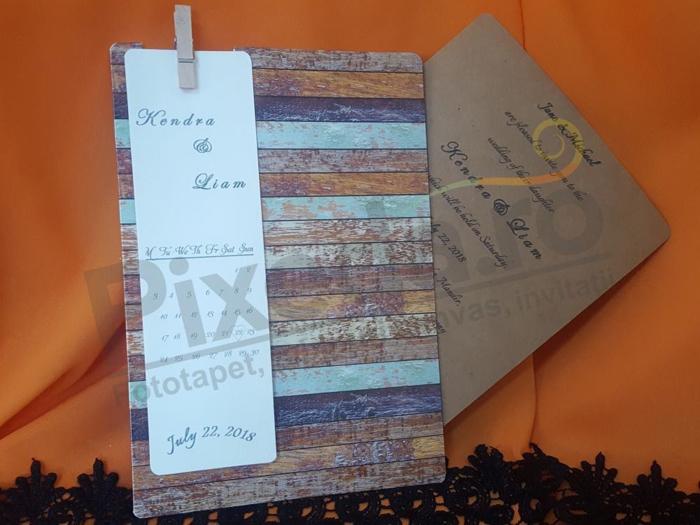 Imagine Invitatii nunta 20421 model lemn vintage