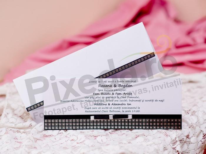 Imagine Invitatii nunta 30094 model elegant alb si negru