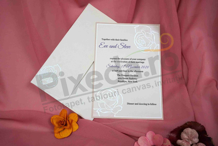 Imagine Invitatii nunta 70271 trandafir embosat