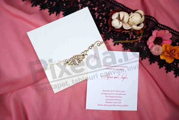 Imagine Invitatii nunta 70292 auriu elegant