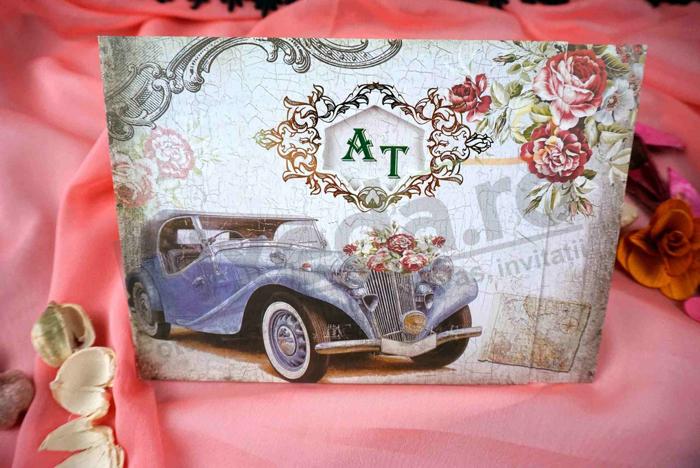 Imagine Invitatii nunta 70337 masina vintage