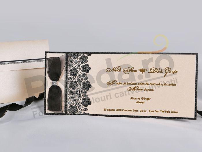 Imagine Invitatii nunta 70762 fundita neagra eleganta