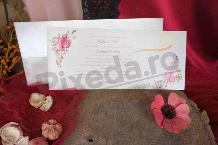 Imagine Invitatii nunta 70165 model flori roz stil discret