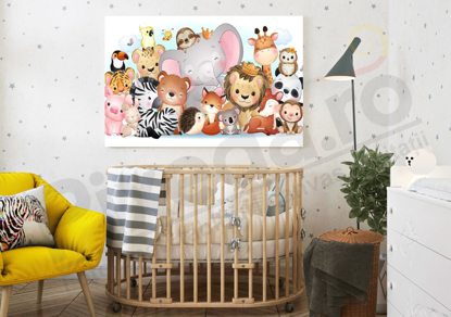 Imagine Tablou canvas camera copiilor PX 20025 animalute fericite