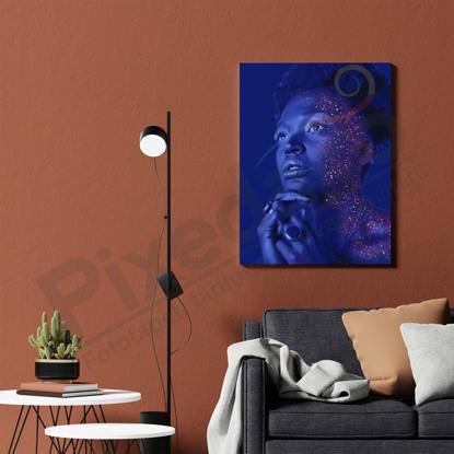 Imagine Tablou canvas abstract PX 21014 portret femeie glitter neon