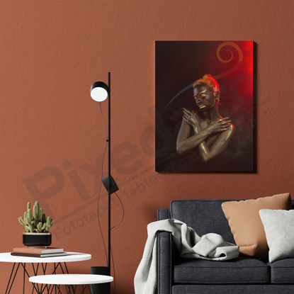Imagine Tablou canvas abstract PX 21016 imbratisare aurie