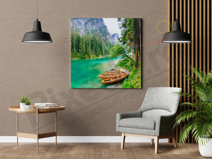 Imagine Tablou canvas peisaj PX 22034 barci intre munti