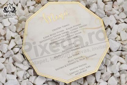 Imagine Meniu de nunta 19365 hexagon